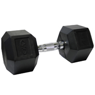 Valor Fitness RH-45 Rubber Hex Dumbbell-45 lb Single